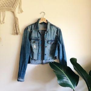 Zara Cropped Jean Jacket sz S ✨